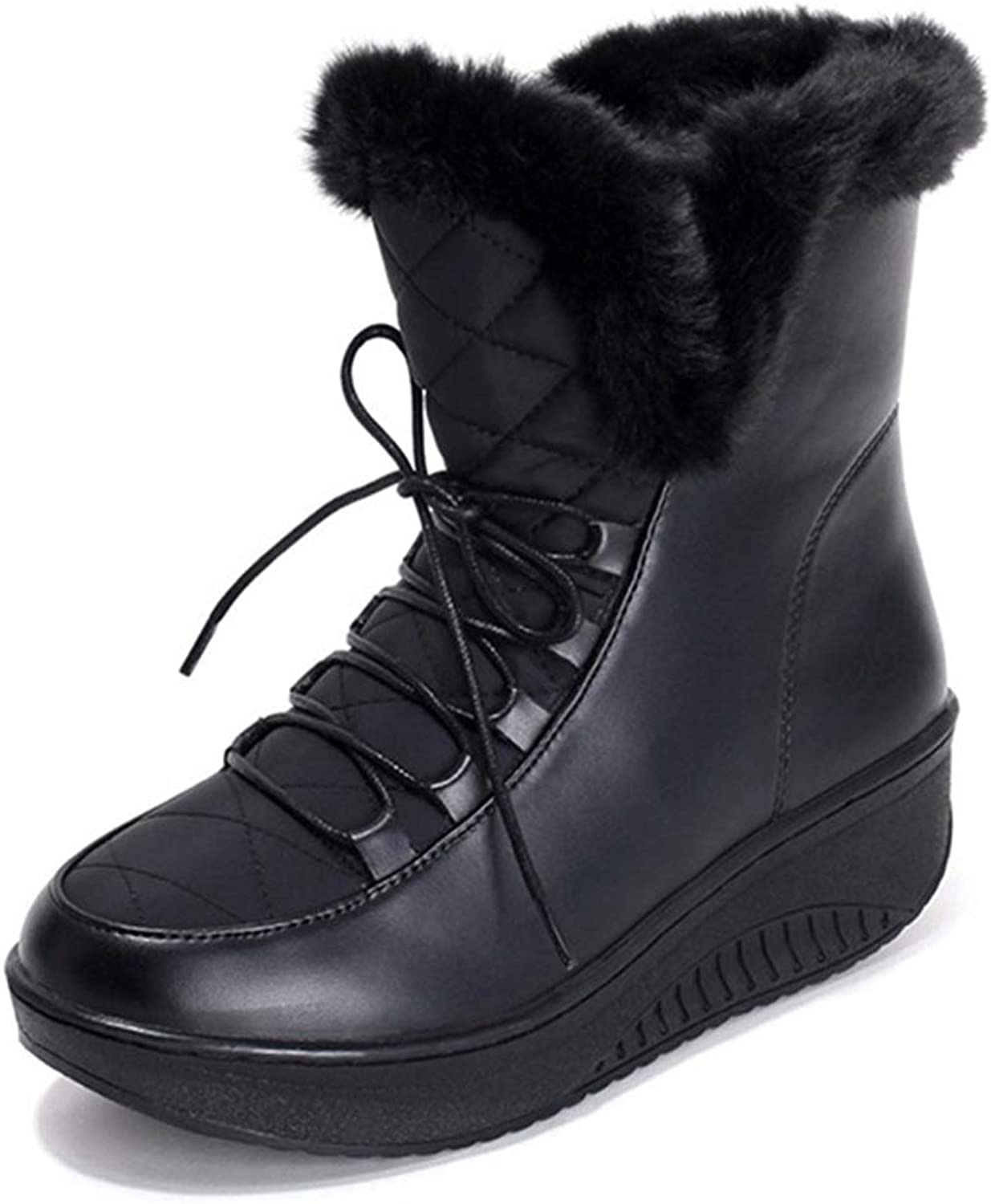 Winter Snow Boots Thick Fur Inside Platform shoes Woman Wedges Heel Women Ankle Boots Female shoes