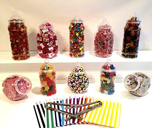 10bocaux à bonbons assortis en plastique, 2pinces, 50sachets à bonbons–style victorien vintage magasins à bonbons buffet kit pour une fête