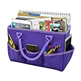 Godery Desktop Tote and Stock Organize, Teacher Helper Tote Bag Organization for Arts, Books, Stationery, etc, and Office Desk Organize, Make-up Storage Tote with Handles for Travel (Purple)