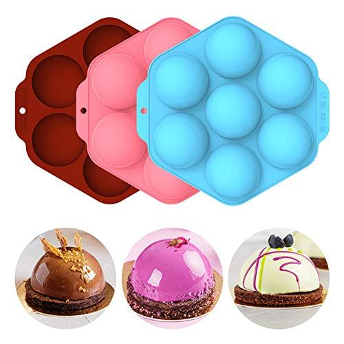 Botongda Backformen Set halbkugelförmige Silikonform für die Kuchendekoration, eine Silikonform mit 7 Löchern zur Herstellung von Schokolade, Kuchen, Gelee, Kuppelmousse (3 Stück)