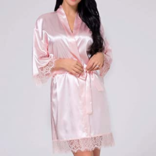 HONGFEI-SHOP Pajamas Sets Gown for Women Lace Silk Kimono Bathrobe Bridesmaid Nightwear Short Satin Robe Sexy Wedding Dres...