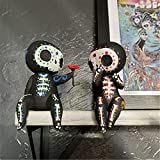Sugar Skull Figurines - Unique Crafts Resin Sugar Skull Couple Figurine,Sugar Skull Couple Statue Decor,Cute Statue Skull Resin Skeleton Couple Figurine Gothic for Mother's Day for Home Decoration