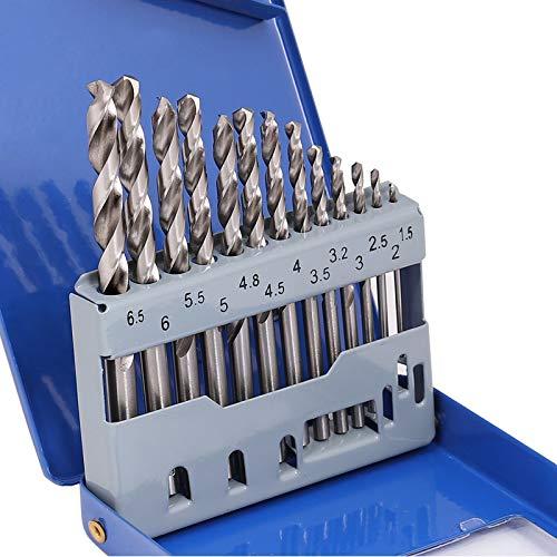 COMOWARE Jobber Metal Drill Bit Set - 13 Pcs Straight Shank HSS M2 for Stainless Steel, Cast Iron, Plastic and Wood