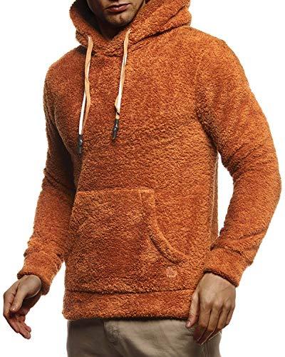 Leif Nelson Herren Hoodie Teddy Fleece Pullover mit Kapuze Kapuzenpullover für Männer Pulli Longsleeve Sweatshirt LN20105 Größe M Rot-Braun