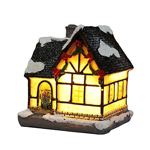 BSTCAR Weihnachtsdorf mit Beleuchtung, LED Weihnachtsharz Licht Deko Weihnachten LED Weihnachtliches Dorf Weihnachtshaus Weihnachtsstadt