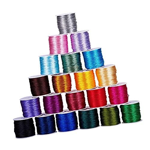 PINGDONGHANG 1pc 21 Color 15mm Satén Trim Cord Rattail Cord Cuerda de Seda Cordón para Collar Trenzado Chino Nudo Trim Joyería Fabricación