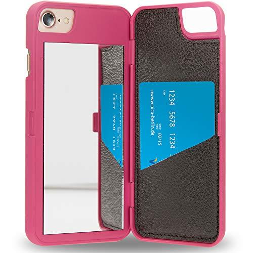 NALIA Mirror Case Compatible con iPhone SE 2020/8 / 7 Funda, Espejo Carcasa Protectora Plegable Resistente Flipcase Libro, Delgado Cubierta Telefono Movil Proteccion Cover Rigida, Color:Pink Rosa