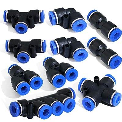 Boeray 8 Pack 4-12mm Combo OD Plastic Inline Push To Connect Fittings Kit, 2pcs Straigh+2pcs Spliters+2pcs Elbows+2 pcs Tee+ +1pcs 5-Ports+ 1pcs 4-Ways Union Pipe Tube Fitting Pneumatic Fittings Set