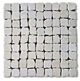 12'x12' Marble Stone Tumbled (Botticino) Pebble Mosaic Wall & Floor Tile (Package of 5 Sheet)