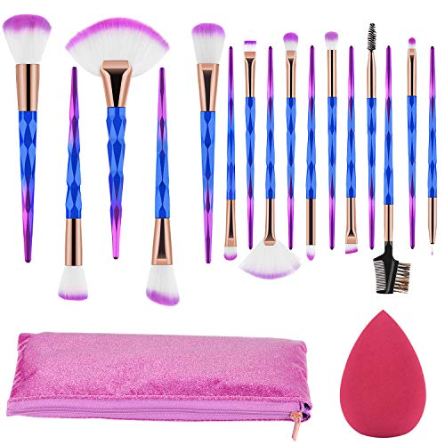 Make up Pinsel Set 16 Pcs Unicorn Professionelle Makeup Pinselset Synthetische Foundation Foundation Rouge Lidschatten Blending Kontour Pinselset Kosmetikpinsel with tasche & Beauty Schwamm