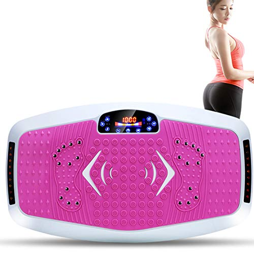XWDQ Fit Massage Vibrationsplattform Maschine, Vibrationsplatte mit Fernbedienung Farbe LCD Touchscreen Vibrationsplattform Maschine Fitness zu Hause Balance Training Dehnübung,Rosa