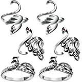 6 Pieces Adjustable Knitting Crochet Loop Ring Knitting Accessories Braided Knitting Ring Yarn Guide Finger Holder Open Finger Ring for Mother Grandma Thanksgiving Presents, 3 Styles (Silver)
