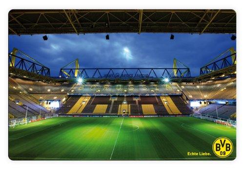 K&L Wall Art Glasbild - BVB - Signal Iduna Park bei Nacht - 60x40 cm - mit abgerundeten Ecken - 3D Optik GA1190