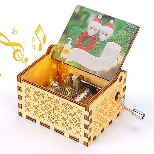 LINGSFIRE Vintage Holz Handkurbel Spieluhr, 2020 Spezielle gravierte hölzerne Spieluhr für Freundinnen Tochter Mutter Liebe Basteln - Spielen Sie Frohe Weihnachtsmusik