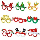 Aneco 9 Pieces Christmas Glitter Party Glasses Christmas Decoration Costume Eyeglasses Party Glasses Frame for Holiday Favors, Assorted Styles