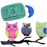 INNI 3D Silicone Owls Moon Fondant Chocolate Mold Mould Cake DIY Decoration Baking Tool