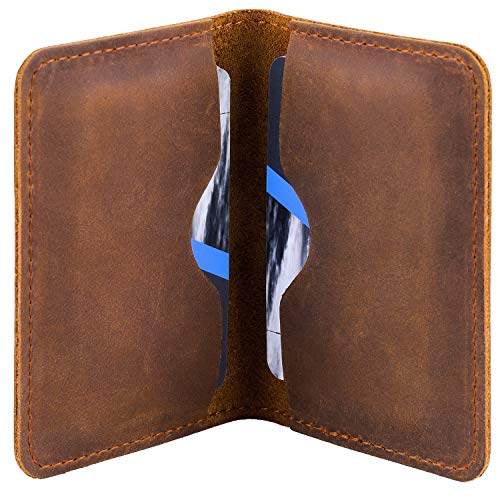MaxGear Leather Business Card Holder Professional Pocket Business Card Case Bifold Business Cards Wallet Slim Business Card Carrier for Men and Women, Crazy Horse Genuine Leather, 4.5x3 in, Coffee