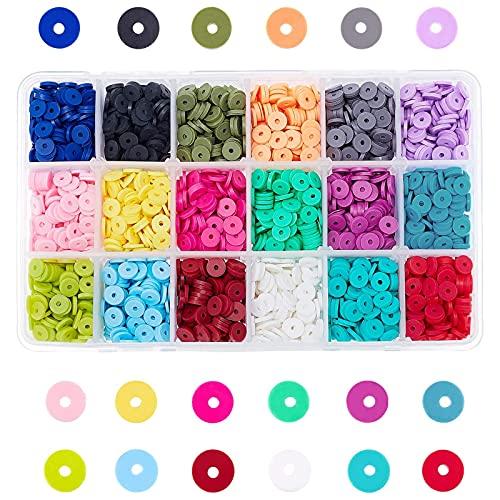 PandaHall Elite Alrededor de 4500~5400pcs Cuentas Separadores de Arcilla Polimérica, Preciosos Materiales de Joya Hecha a Mano, Ambientales, Redondos, 18 Colores