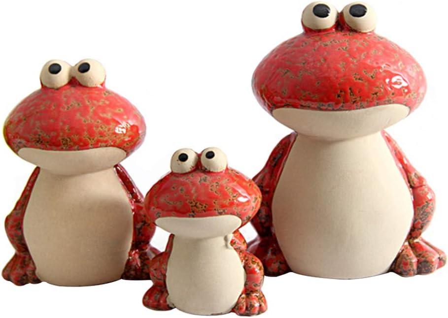 Cabilock 3pcs Ceramic Frog Figurine Al sold out. Collectible Max 56% OFF Cerami Mini