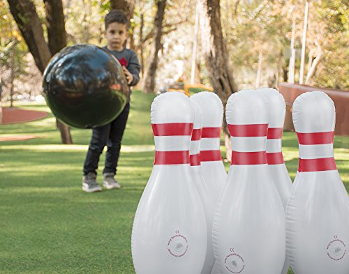 Giant Inflatable Bowling Set - Fun Lawn and Yard Games for Family Parties and Picnics - Indoor or Outdoor Games for Kids and Adults - Stable and Durable - 1 25in Ball and 6 28in Pins