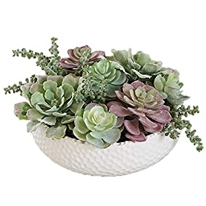 """Silk Flower Arrangements zenglingliang Artificial Potted Home Decor Office Decor Faux Succulent Plants White Round Ceramic Pots with Realistic Succulents Handcrafted Fake Plant,9.1""""×5.9"""" Plant in Pot"""