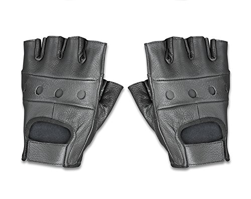 Raider BCS-500-M Black Leather Fingerless Men's Motorcycle Premium Driving Gloves, Medium