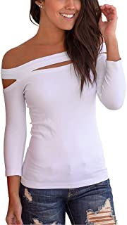 INFITTY Womens Sexy Off The Shoulder Tops Slim Fit Stretchy Cold Shoulder Shirt Blouse