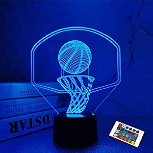 3D Basketball Night Light Backboard Illusion Hoop Lamp for Kids' Room Home Xmas Birthday Gifts for Boy Man Friends with 16 Color Changes Remote Control