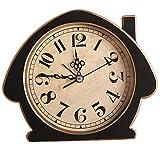 Garneck Reloj de Mesa Vintage Barrido sin Tictac Segunda Mano Analógico Números Grandes Mesita de Noche Escritorio Despertador (Negro)