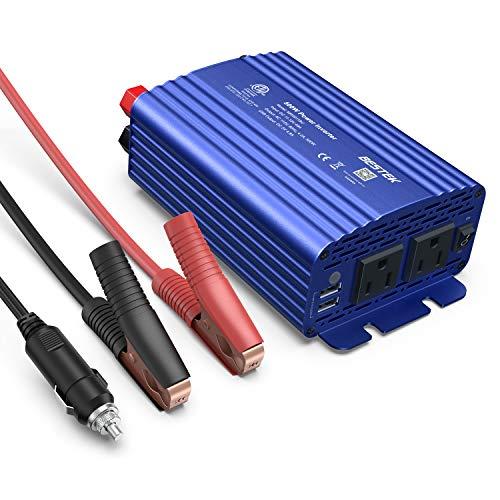 BESTEK 500W Power Inverter DC 12V to 110V AC Converter with 4.8A Dual USB Car Charger ETL Listed (Blue) Ac 120 Watt Usb Inverter