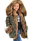 Aofur Kids Unisex Coat Winter Black Jacket Faux Fur Parka Casual Hooded Warm Trench Outwear Children Clothes for Girls Boys (6-7 Years, Camouflage Green)