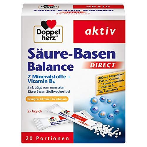 Doppelherz Säure-Basen Balance DIRECT mit Orangen-Geschmack – Nahrungsergänzung mit 7 Mineralstoffen und Vitamin B6 – 20 Sachets