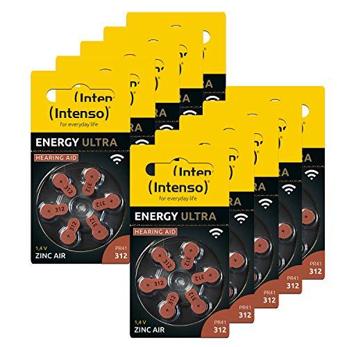Intenso 60x Energy Ultra Hörgeräte Batterie PR41 braun- Typ 312, 10x 6er Blister, Braun (Typ 312), 10x 6er Pack, 7504436MP
