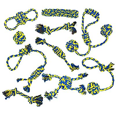 Dog Buddy dog toys, 10 tough dog rope toys, gentle puppy teething toys, natural puppy chew toy, dog training rope toy, for small and medium dogs.