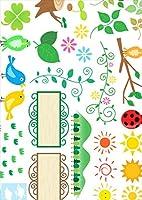 igsticker ポスター ウォールステッカー シール式ステッカー 飾り 841×1189㎜ A0 写真 フォト 壁 インテリア おしゃれ 剥がせる wall sticker poster 014117 花 鳥 クローバー