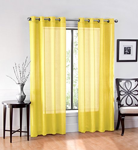 Ruthy's Textile 2 Piece Window Sheer Curtains Grommet Panels 54' X 84' Total 108' X 84' Inch Length for Bedroom/Living Room Color: Yellow