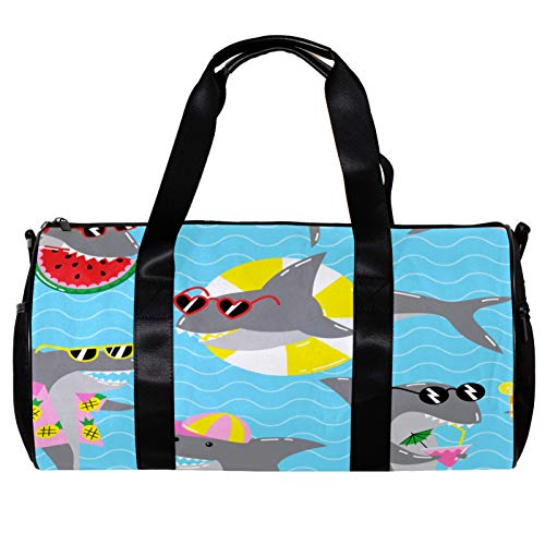 Bolsa de deporte redonda para gimnasio con correa de hombro desmontable de tiburones frescos en gafas de sol, bolsa de entrenamiento para mujeres y hombres
