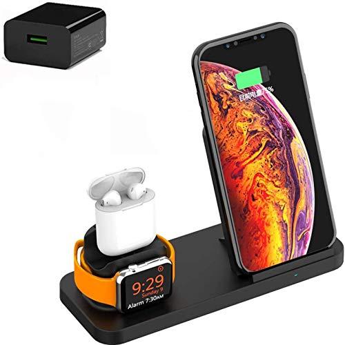 Cargador inalámbrico, estación de carga 3 en 1, soporte de carga inalámbrico, para IWatch 6 5 4 3 2 / Airpods Pro 1 2 / IPhone 12/12 Pro Max / 11 / X / XS / XR / Xs Max / 8Plus / Samsung / S20