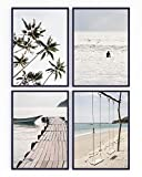 Set de 4 láminas decorativas para enmarcar. Paisaje tropical, playa, surf y palmeras para los cuadros de tu pared. 21 x 30 cm. Posters impresos en papel de 350g. Sin marco