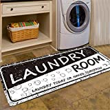 Abreeze Black White Laundry Room Rug 2x4 for Washer and Dryer Cushioned Laundry Floor Mats Laundry Runner Carpet Foam Mat for Kitchen Washroom Bathroom