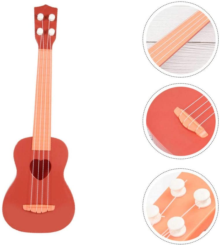 TOYANDONA Ukulele Spielzeug Gitarre Mini 4 Saiten Plastikgitarre Anf/änger Kind Musikinstrumente Lernspielzeug Geeignet f/ür Kleinkind Baby Vorschulkinder