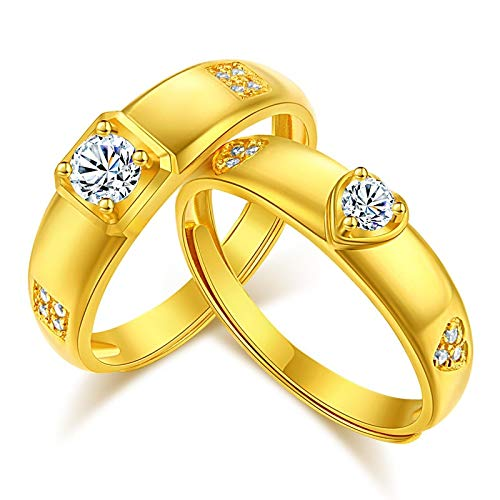 Anillo de pareja de oro chapado en oro Un par de anillos de boda de circonitas con diamantes en forma de corazón coreanos de moda para hombres y mujeres