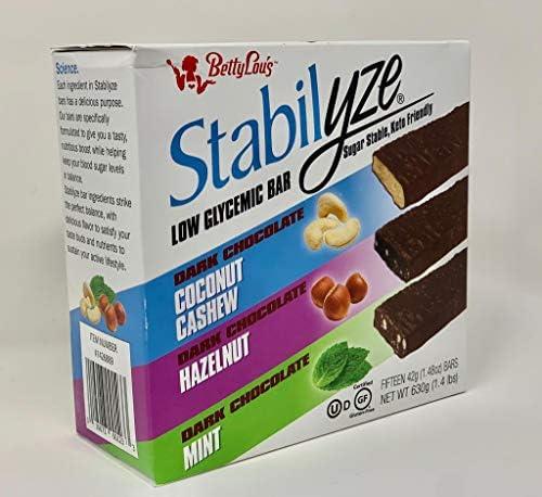 Stabilyze Low Glycemic Index Bar Sugar Stable Keto Friendly Coconut Cashew Hazelnut Mint product image