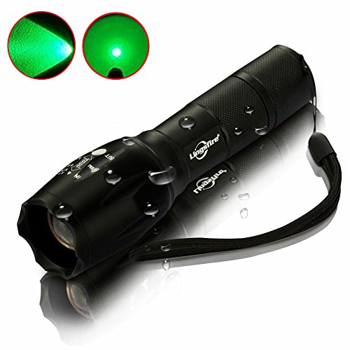 LingsFire Zoomable Scalable LED Flashlight CREE-XML T6 18650 Or AAA Battery Supported Waterproof Flashlight 2000 lumen Cree XML T6 Tactical Torch Glim Lantern (Green light)