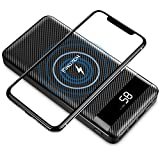 Portable Charger Wireless Power Bank, 26800mAh 10W Fast Portable Wireless Charger PD Power Bank,5 Output&3 Input, with QC 3.0 and LCD Digital Display for Cellphones,iPhone,iPad,Samsung etc (B) (d)
