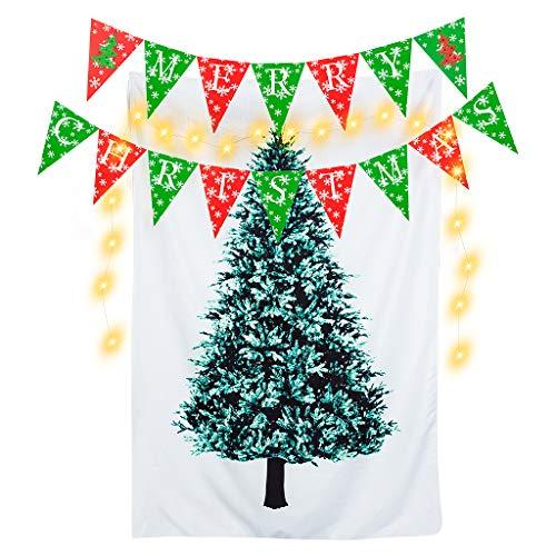 Tumao クリスマスツリー タペストリー 単品95cm×145cm +Merry Christmas ガーランド+3m LEDライト クリスマス 飾り 壁掛け クリスマスデコレーション バナー 壁 窓 インテリ (95cm*145cm)