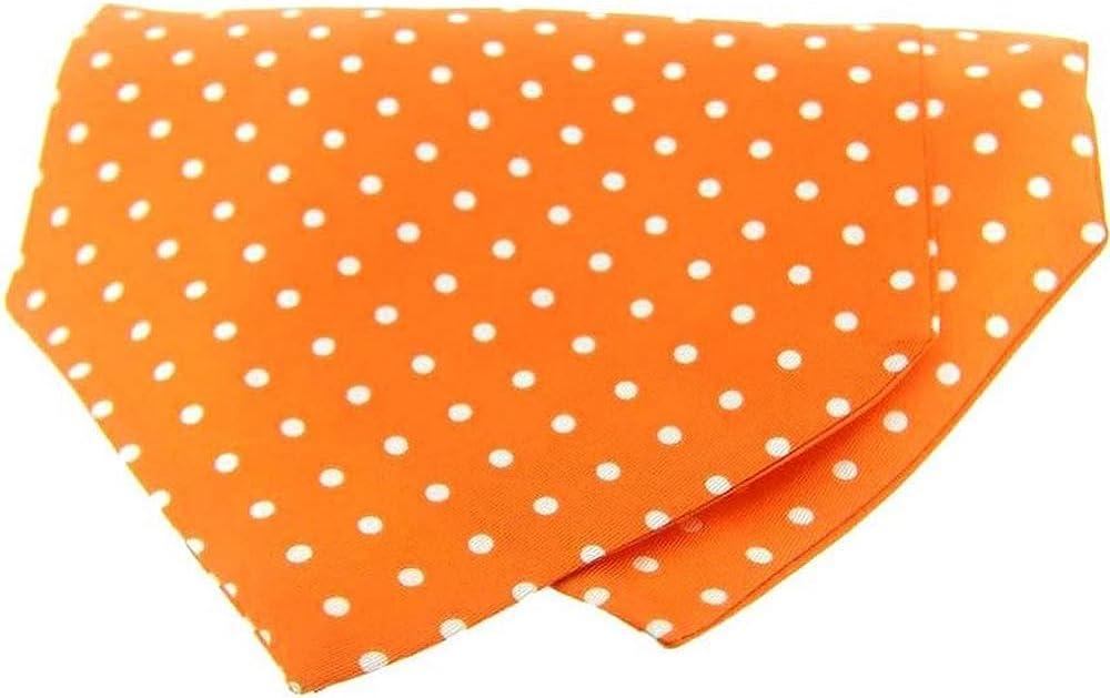 David Van Hagen Mens Polka Dot Silk Twill Cravat - Orange/White