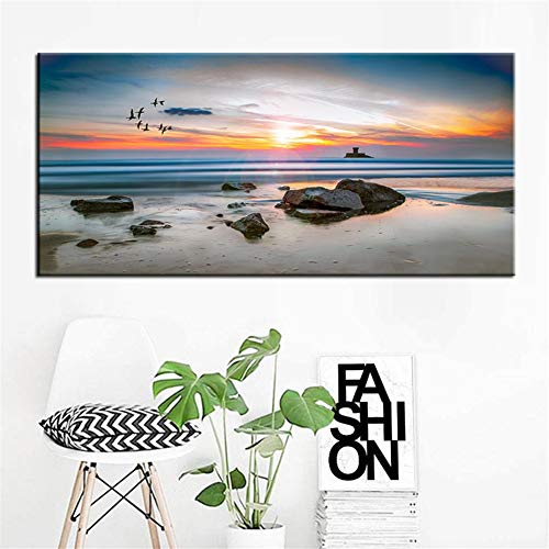 5D Diy Diamond Painting Kit Anochecer Junto Al Mar Full Drill Rhinestone Crystal Embroidery Cross Stitch For Adults Kids Arts Canvas Pictures By Number Set For Room Bedroom Wall Decor C7123 30X90Cm