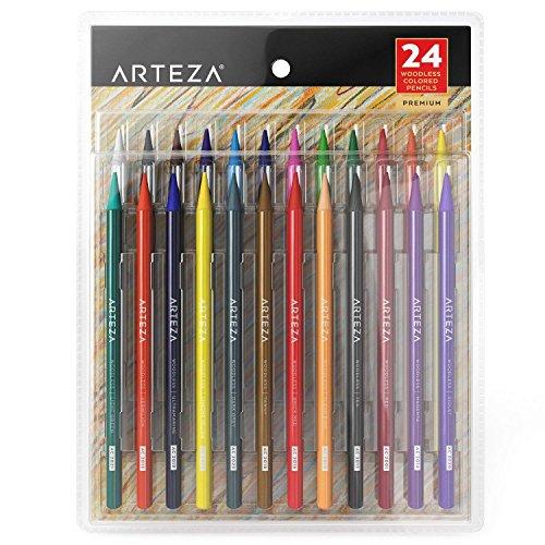 Arteza 24 Woodless Colored Pencils Set, Soft Core, Pre -Sharpened, Art Coloring Pencils