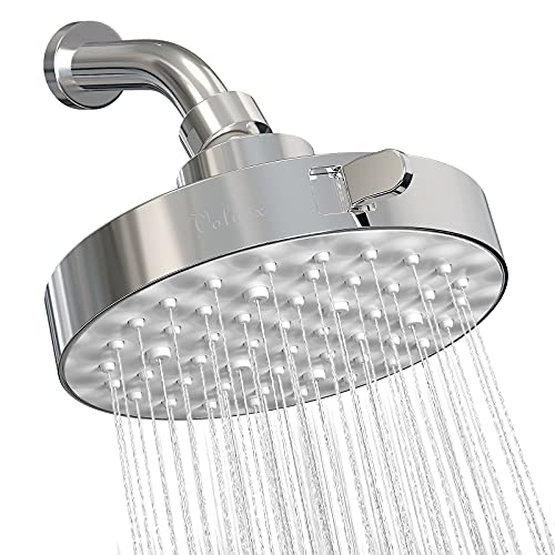 VOLUEX Shower Head, 3 Spray Settings, High Pressure Rain , Luxury Bathroom Showerhead with 3D textured ABS panel, Adjustable Angles, Anti-Clogging Silicone Nozzles, Easy Tool Free Installation